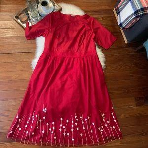 nwot Eshakti red fit flare mesh floral dress 2x 20